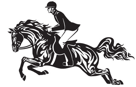 Horse show jumping . Equestrian sport competition . Horseman rider controls a horse jumping over an obstacle . Black and white side view vector illustration in the tribal tattoo style.