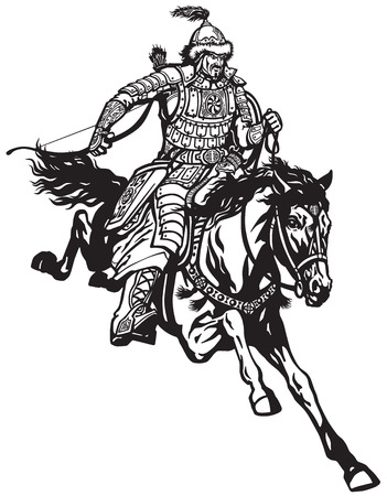 Mongolian archer warrior on a horseback riding a pony horse in the gallop and holding a bow . Illustration