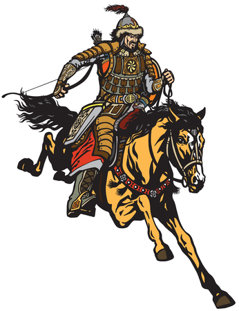 Mongolian archer warrior on a horseback riding a pony horse in the gallop and holding a bow .Medieval time of Genghis Khan . Isolated vector illustration Ilustração
