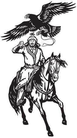 Asian hunter horseman sitting on a pony horseback and hunting with a golden eagle .Black and white vector illustration