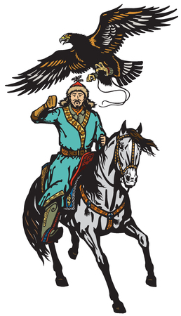 eagle hunter on a horse . Asian horseman sitting on a pony horseback and golden eagle in flight .Isolated vector illustration Stock Illustratie