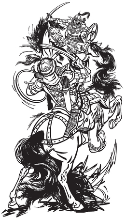 Horsemen soldiers sitting on pony horses and fighting with swords.  Black and white vector illustration