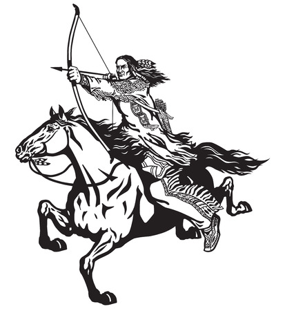 American native Indian archer on a horseback riding a pony horse and shooting a bow and arrow . Nomadic horseman warrior or hunter on a mustang in the gallop . Black and white isolated vector illustration