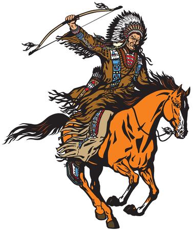 Chef amérindien portant un bonnet de guerre en plumes et monté sur un cheval poney mustang au galop. Cavalier nomade guerrier archer ou chasseur assis sur un cheval et tenant un arc. Illustration vectorielle isolé