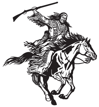 American native Indian man holding a rifle and riding a pinto colored pony horse in the gallop . Nomadic horseman warrior or hunter on a mustang in the gallop .Black and white isolated vector illustration Illustration