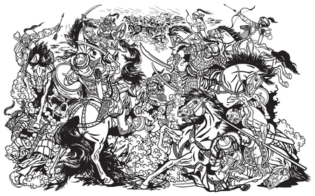 Battle between Mongols clans and tribes .Time of Genghis Khan .Medieval Asian cavalry warriors fighting with swords and nomads archery shooting a bow and arrows. . Black and white vector illustration Vektoros illusztráció