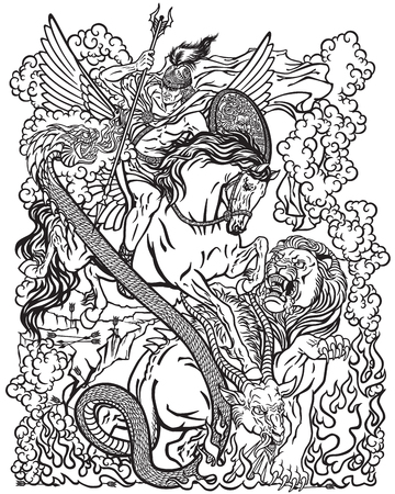 the mythological hero Bellerophon or Bellerophontes riding the divine winged horse Pegasus and killing the monster creature as the Chimera . Ancient Greek mythology . Black and white graphic vector illustration .Coloring page