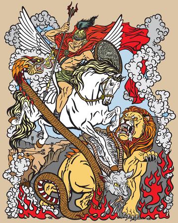 Nach der antiken griechischen Mythologie tötete der Held Bellerophon oder Bellerophontes mit Hilfe des geflügelten Pferdes Pegasus die Monster-Kreatur als Chimäre. Grafikstil-Vektorillustration