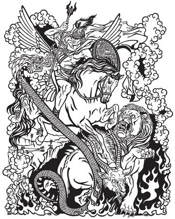 l'eroe mitologico Bellerophon o Bellerophontes cavalca il divino cavallo alato Pegasus e combatte la creatura mostruosa come Chimera. Antica mitologia greca. Illustrazione grafica vettoriale in bianco e nero Vettoriali
