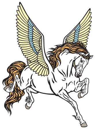 Pegasus geflügeltes göttliches Pferd. Tattoo-Stil Vektor-Illustration