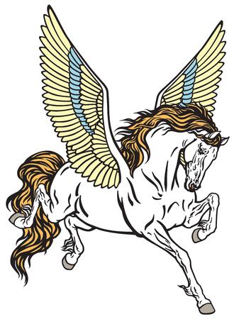Cavallo divino alato di Pegaso. Illustrazione di vettore di stile del tatuaggio