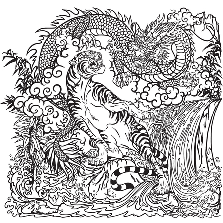 Chinese dragon and tiger in the landscape with waterfall , rocks ,plants and clouds . Two symbolic creatures in the Feng Shui representing the spirit heaven and matter earth. Graphic style vector illustration. Coloring page