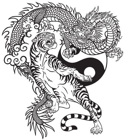 Chinese draak versus tijger. Zwart-wit tattoo vector illustratie inclusief Yin Yang-symbool