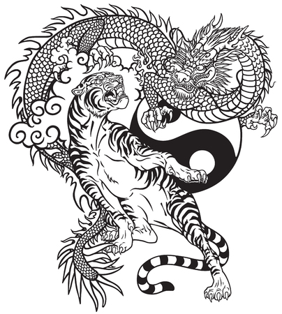 Chinese dragon versus tiger. Black and white tattoo vector illustration included Yin Yang symbol