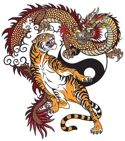 Drago cinese contro tigre. Illustrazione vettoriale di tatuaggio incluso simbolo Yin Yang