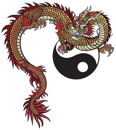 Drago orientale e simbolo di Yin Yang. Illustrazione vettoriale del tatuaggio