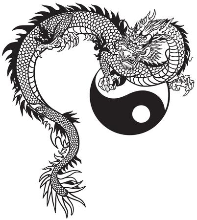 Drago orientale e simbolo di Yin Yang. Illustrazione di vettore del tatuaggio in bianco e nero Vettoriali