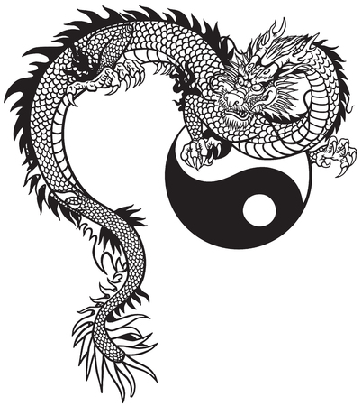 Eastern dragon and Yin Yang symbol. Black and white tattoo vector illustration