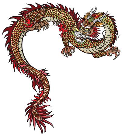 Dragón oriental. Ilustración de vector de estilo de tatuaje aislado en blanco Ilustración de vector