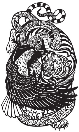 eagle snake and tiger. Three spiritual symbolic animals . Black and white tattoo style vector illustration