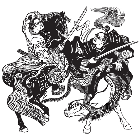 Fighting between two Japanese samurai warriors .  Horsemen soldiers sitting on pony horses and fighting with swords .Black and white vector illustration
