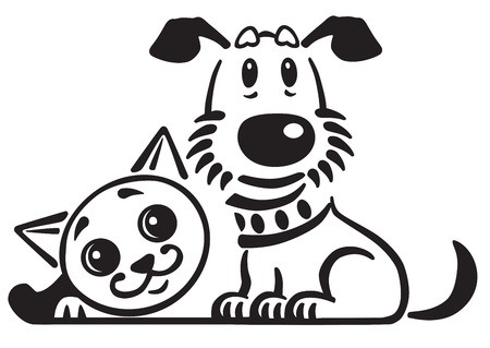 cartoon puppy dog and cat . Logo, icon , emblem . Black and white vector