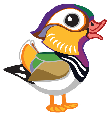 cartoon mandarin duck male . Side view illustration. Isolated vector for baby and little kid