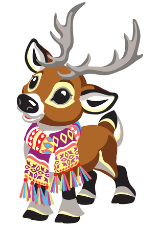 cartoon reindeer wearing a colorful knitted scarf . Tiny Christmas caribou deer isolated on white .Vector illustration for baby and little kid Vector Illustratie