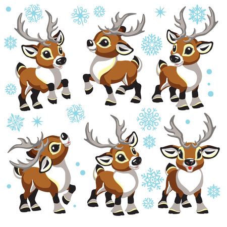 reindeer vector set. Cartoon collection of funny Christmas tiny caribou deer in different poses . Isolated illustrations for little kids Иллюстрация