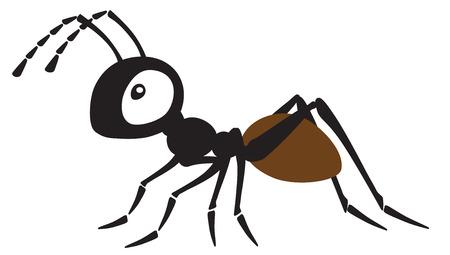 insecto hormiga de dibujos animados. Ilustración de vector de vista lateral aislado en blanco