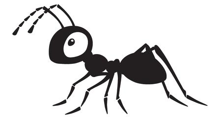 insetto formica dei cartoni animati. Illustrazione vettoriale in bianco e nero di vista laterale Vettoriali