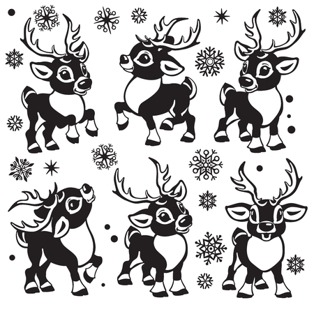 reindeer vector set. Cartoon collection of funny Christmas tiny caribou deer in different poses .Black and white  isolated illustrations for little kids Illustration