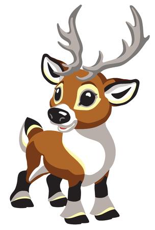 cartoon Christmas caribou deer. Tiny reindeer for babies and little kids . Isolated vector illustration Иллюстрация