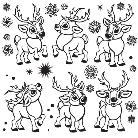 set of reindeer . Cartoon collection of funny Christmas tiny caribou deer in different poses .Black and white outline vector  illustrations for babies and little kids Illustration