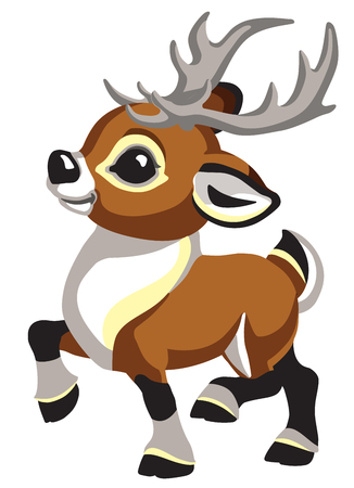 cartoon Christmas caribou deer. Funny reindeer for babies and little kids . Isolated side view vector illustration Stock Vector - 110747393