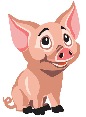 happy piglet . Cartoon little pig isolated on white . Vector illustration