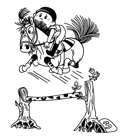 cartoon boy training his pony horse jumping over obstacle . Funny equestrian sport . black and white vector illustration