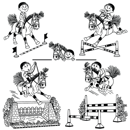 little kid jockey riding a pony horse and jumps over difference obstacles  on stadium show jumping . Cartoon equestrian sport . Set of black and white vector illustrations