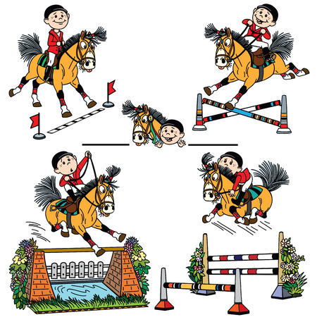 cartoon boy riding a pony horse and jumps over obstacle on show jumping competition . Funny equestrian sport .Set of vector illustrations Vectores