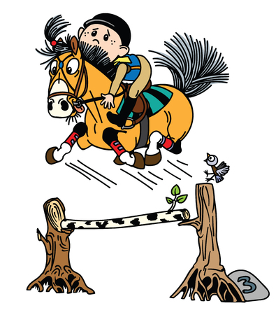 cartoon boy training his pony horse jumping over obstacle . Funny equestrian sport . Isolated vector illustration Illustration