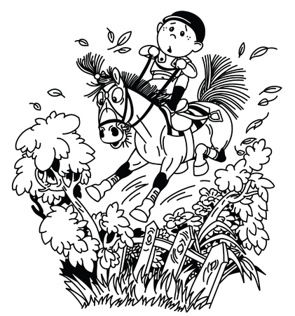 cartoon kid jockey riding his pony horse and training to jump over fence. Funny equestrian cross country jumping sport. black and white outline vector illustration Illustration