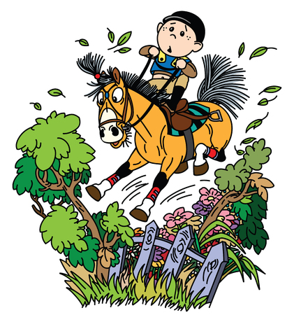 cartoon boy jockey riding his pony horse and training to jump over fence. Funny equestrian cross country jumping sport. Vector illustration Illustration