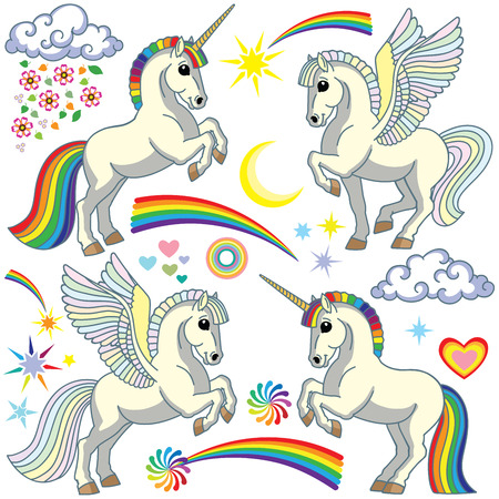 cartoon unicorn and pegasus set. Collection of magic white pony horse and rainbow dreams elements. Isolated vector illustration for baby and little kid