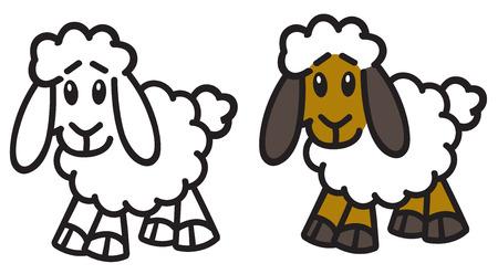 cartoon sheep. Lamb icon, emblem. Vector outline and color illustration Illustration