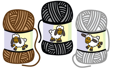 cartoon funny sheep on the woolly thread balls. Yarns of lamb wool . Isolated vector illustration
