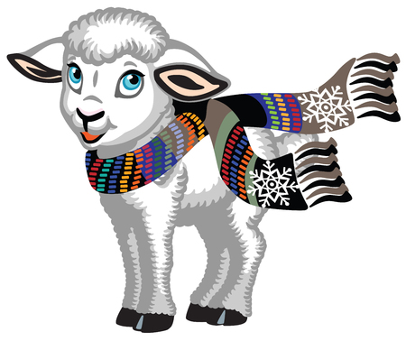 cartoon lamb wearing a colorful knitted scarf . Cute baby sheep isolated on white. Vector illustration for little kids