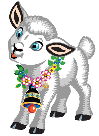 cartoon little sheep with a bell and flowers around his neck . Baby lamb isolated on white . Vector illustration for little kids