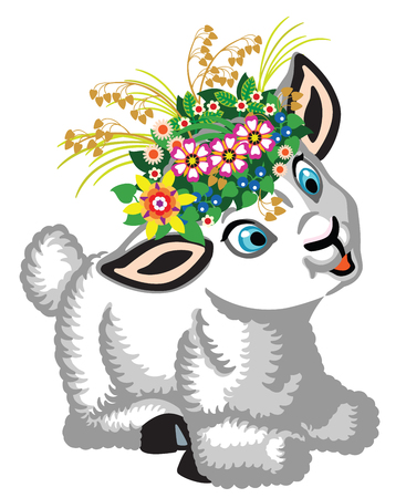 cartoon little sheep wearing wreath of flowers .Cartoon baby lamb .Isolated vector illustration for little kids