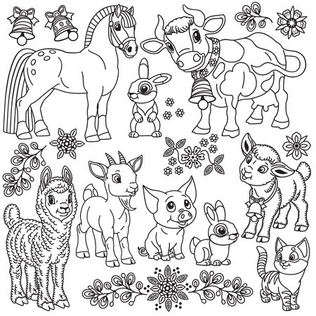 set of cartoon farm animals . Outline collection for babies and little kids .Black and white vector illustration
