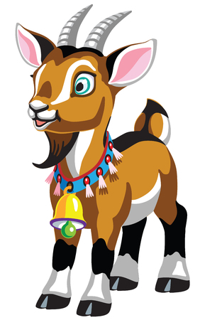 cartoon little goat with bell . Isolated vector illustration for babies and little kids